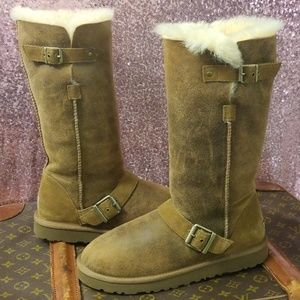 RARE UGG 'Dylyn' Tall Chestnut Buckle boots